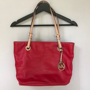 Michael Kors Red Soft Leather Bag Large